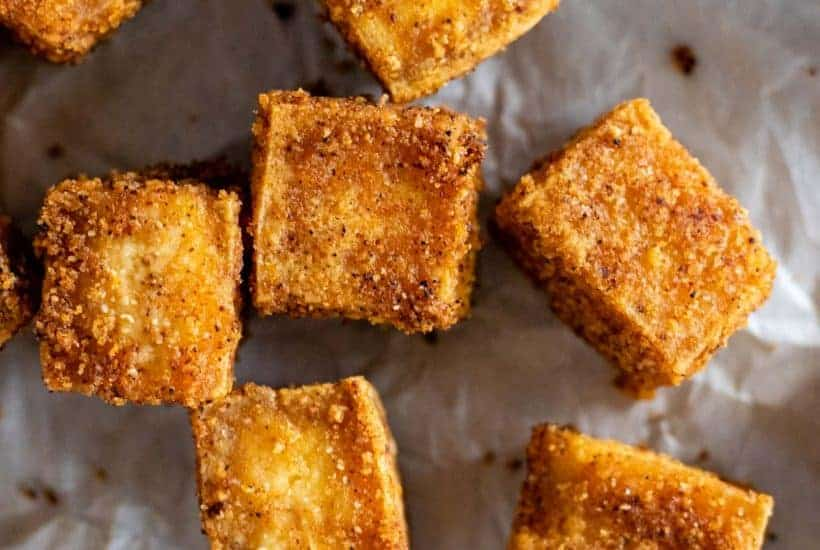 crispy baked tofu straight out of the oven