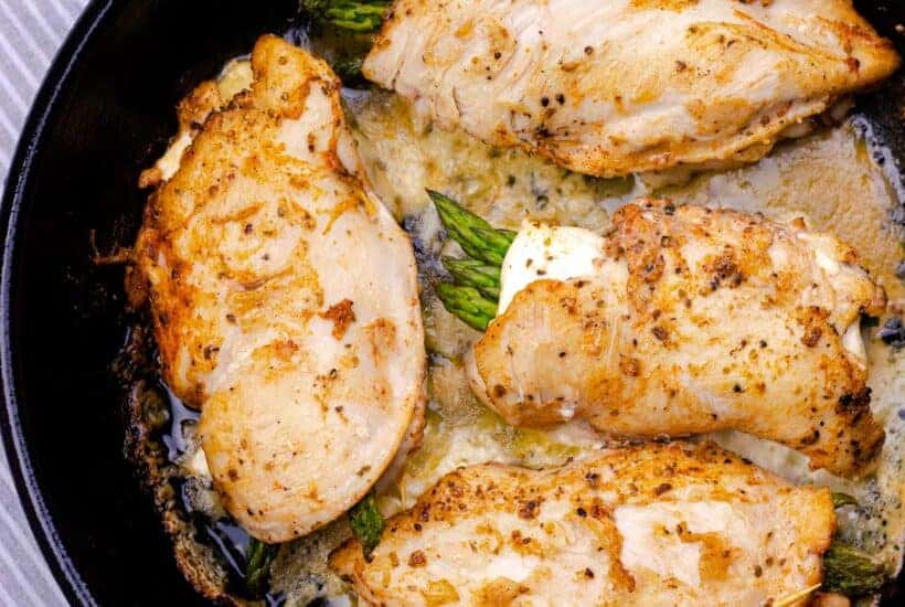 cheesy asparagus and bacon stuffed chicken breast right out of the oven