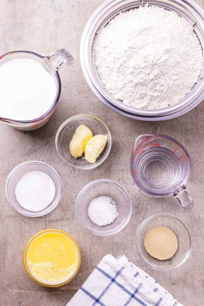 all of the ingredients needed to make the bun dough