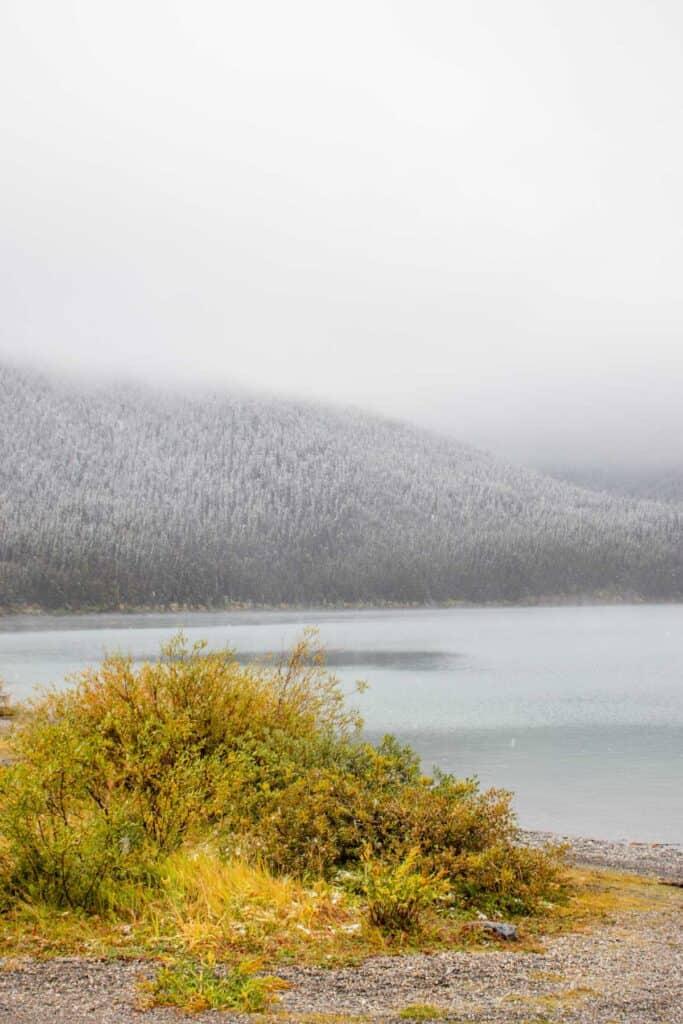 the upper kananaskis lake after it had snowed over night