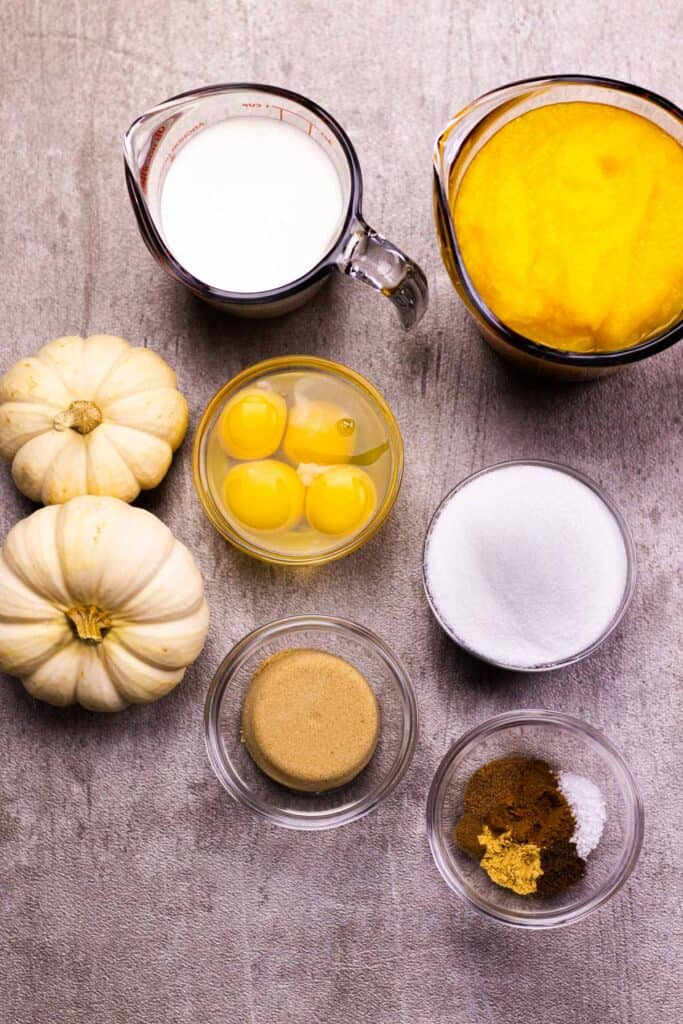All of the ingredients to make the pumpkin pie
