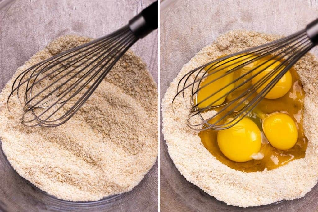 a grid showing mixing the brown sugar and white sugar together; and a photo showing adding the eggs and egg yolks to the sugar.