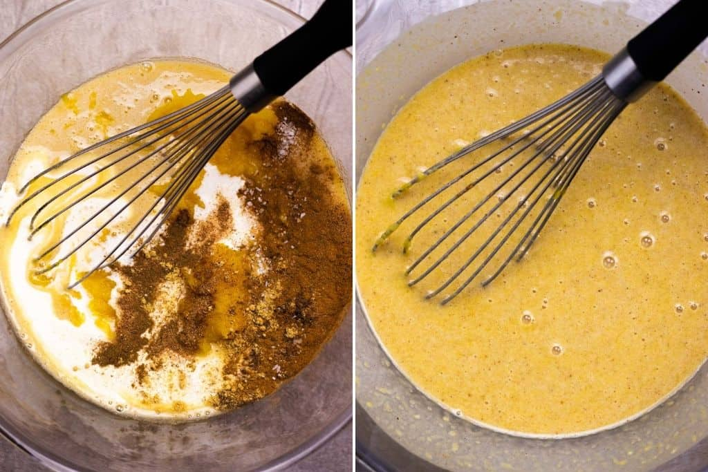 a grid showing adding the rest of the ingredients into the bowl; and a photo showing the pumpkin pie filling fully combined