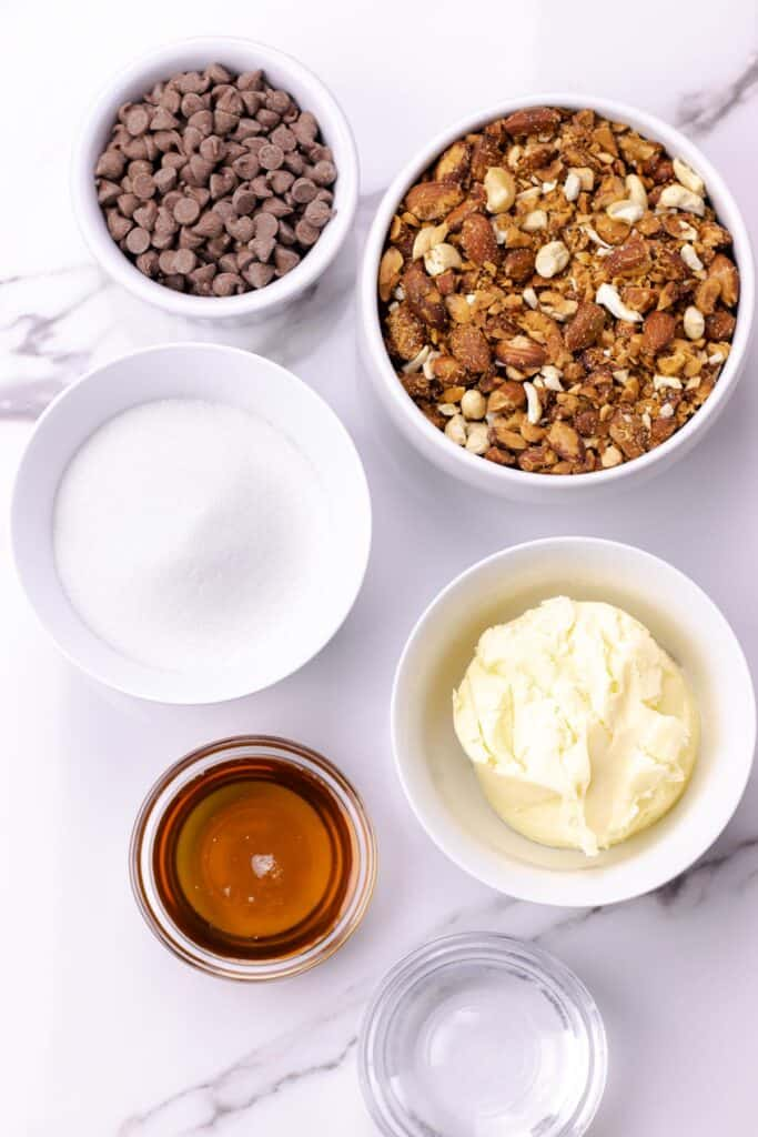 All of the ingredients to make the toffee laid out in bowls