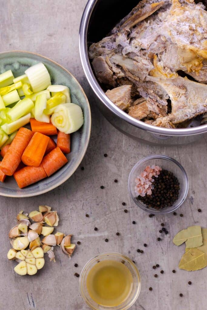 All of the ingredients to make bone broth