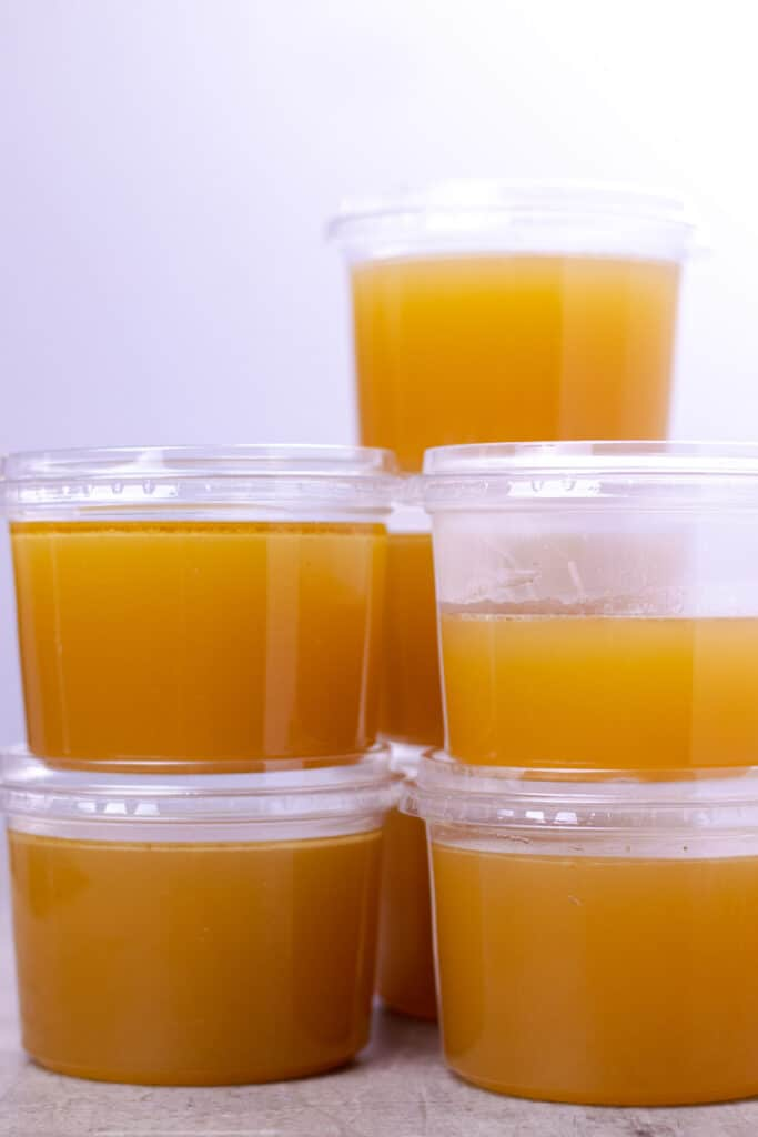 the completed bone broth yield from one turkey carcass