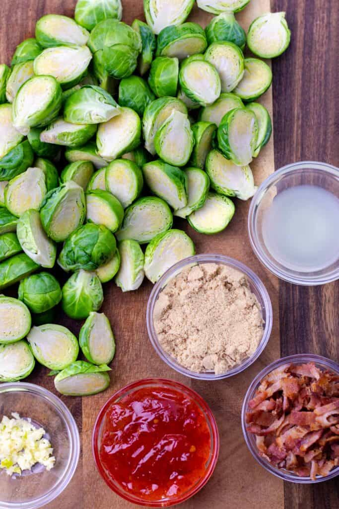All of the ingredients to make spicy bacon jam brussel sprouts