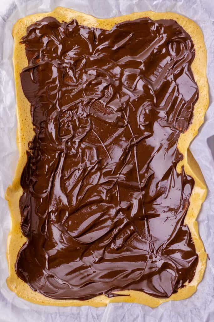 the sponge toffee covered in melted chocolate