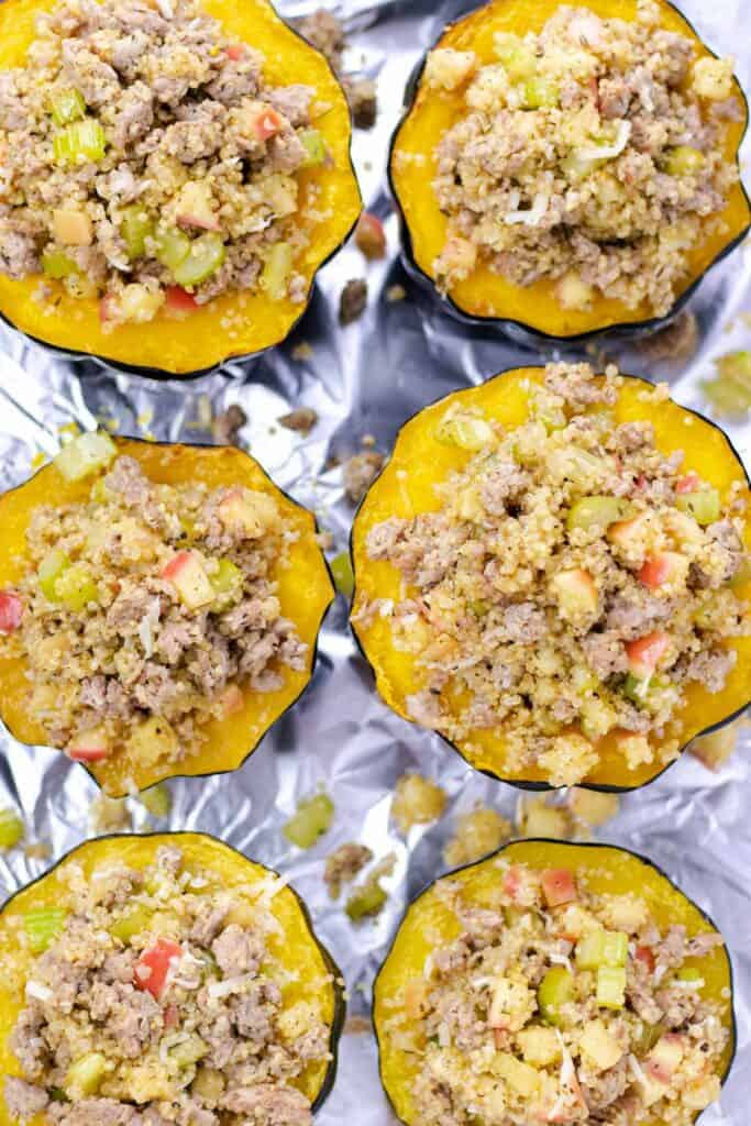 stuffing the baked acorn squashes