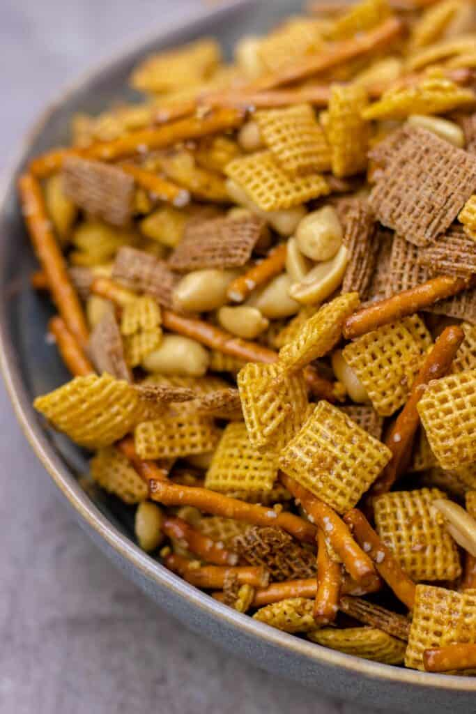 showing a close up shot of the sweet and spicy holiday chex in a bowl