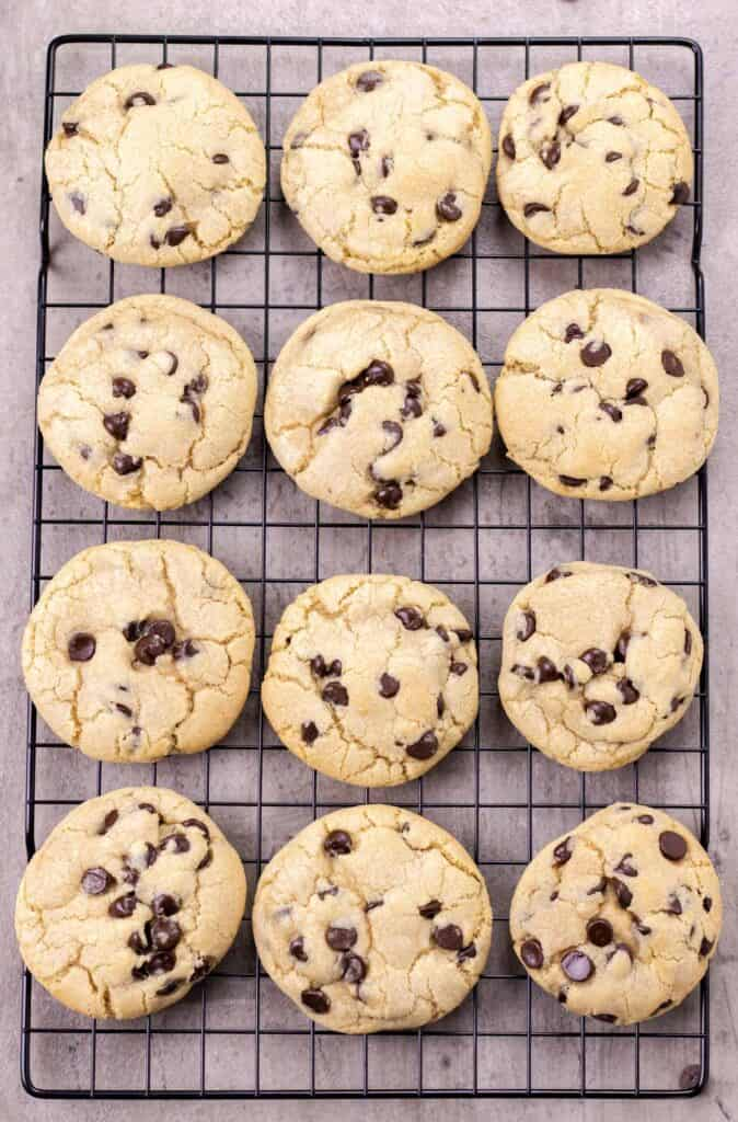 the cookies after they have baked, cooling on a wire rack