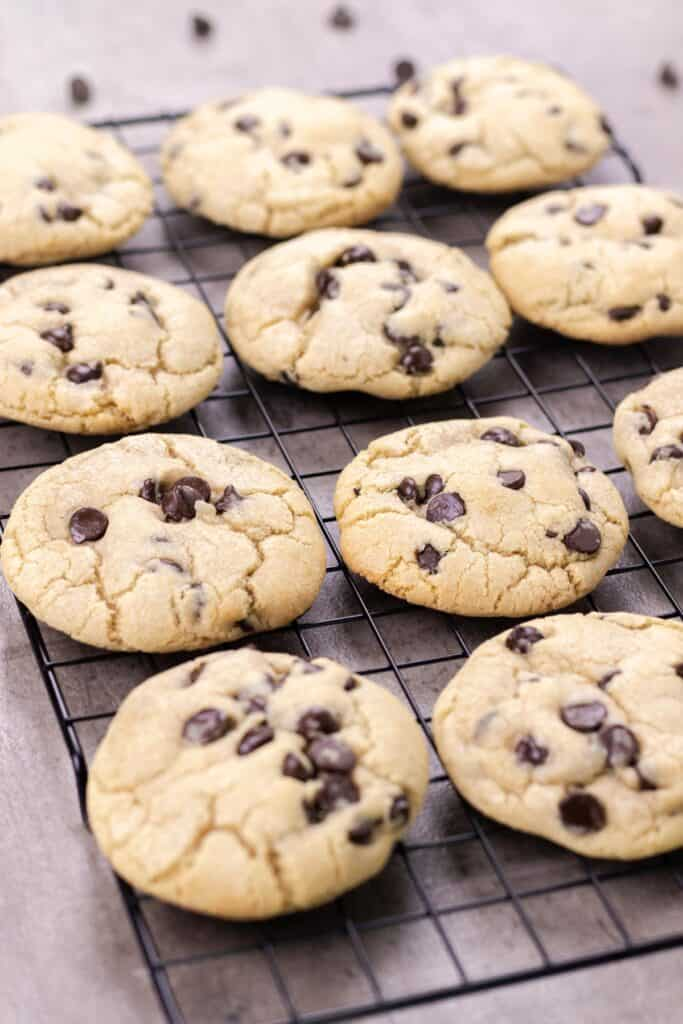 the best chocolate chip cookies cooling on a wire rack