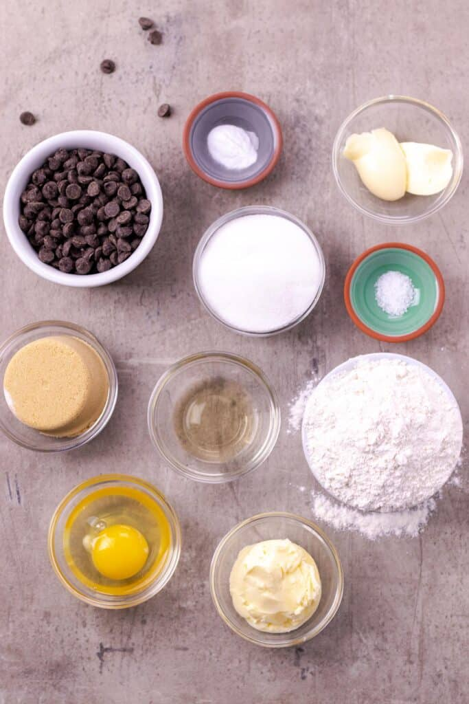 all of the ingredients to make the best chocolate chip cookies ever!