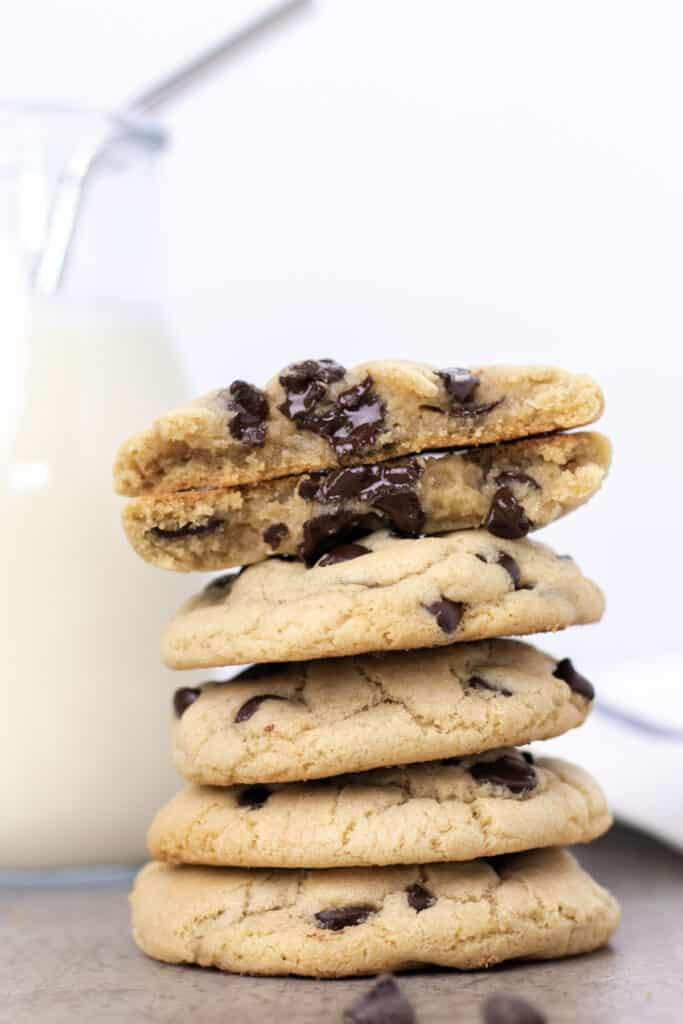 a perfect stack of the best chocolate chip cookies ever!