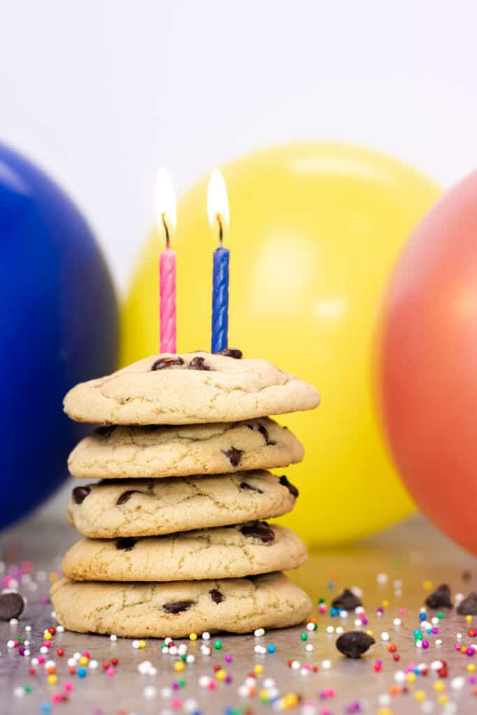 chocolate chip cookies with 2 candles to celebrate Whipped It Up's second birthday