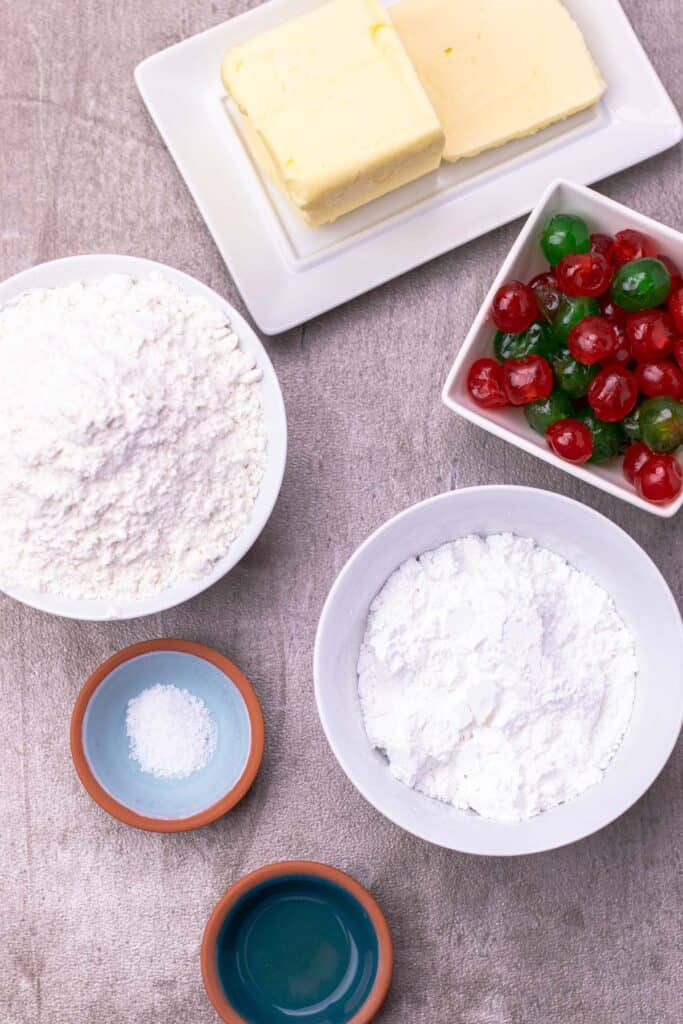 All of the ingredients you need to make whipped shortbread cookies