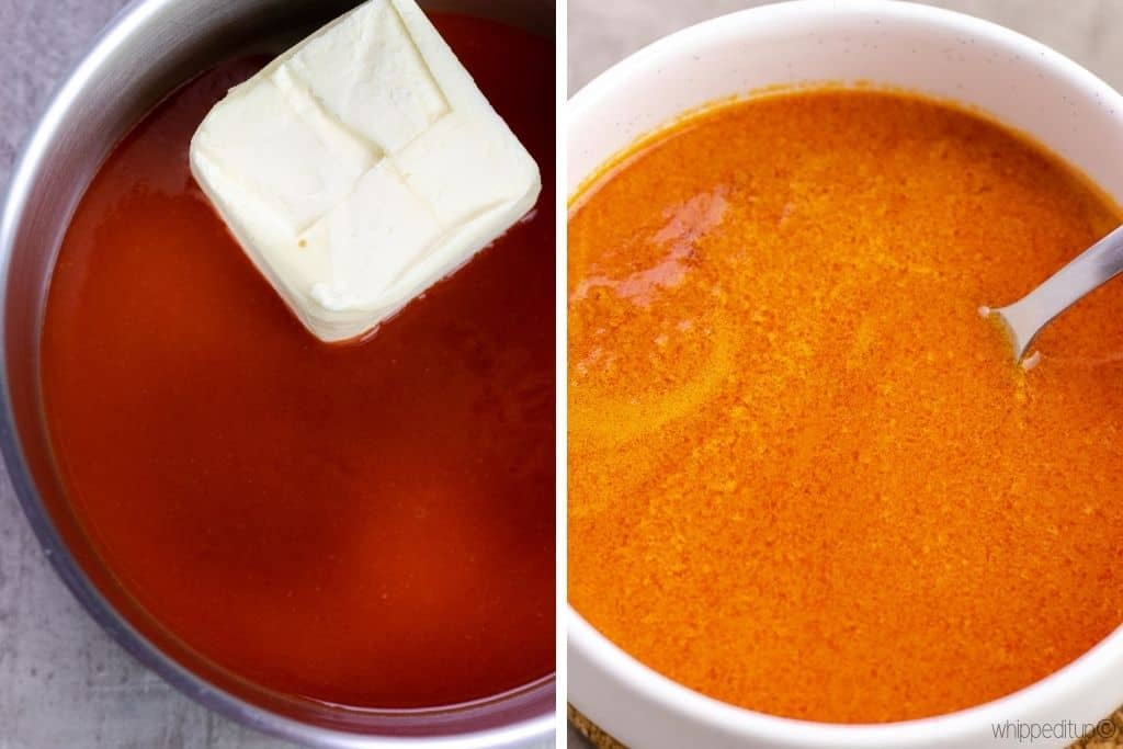 a grid showing making the buffalo sauce. Photo on the left shows the butter and franks sauce in a saucepan. The photo on the right shows the buffalo sauce in a white serving bowl with a spoon.