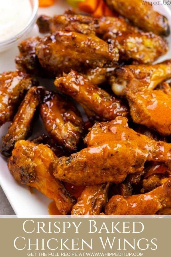 crispy baked chicken wings pinterest pin
