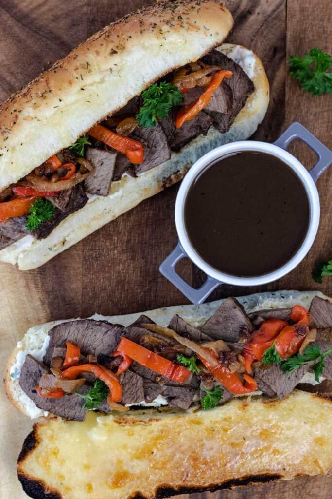 prepared beef dip sandwiches