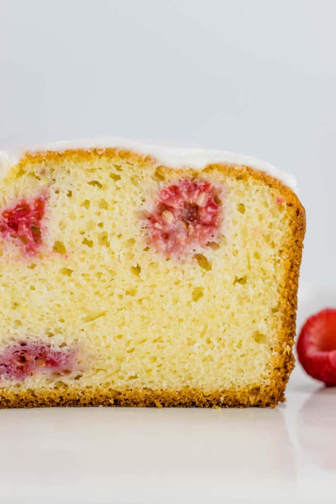showing the inside of the raspberry lemon loaf