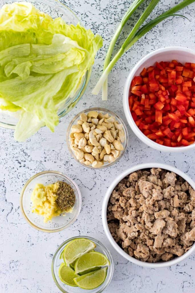 all of the ingredients to make turkey lettuce wraps