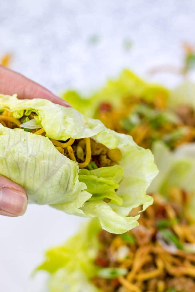 a hand holding one of the turkey lettuce wraps rolled up and ready to eat