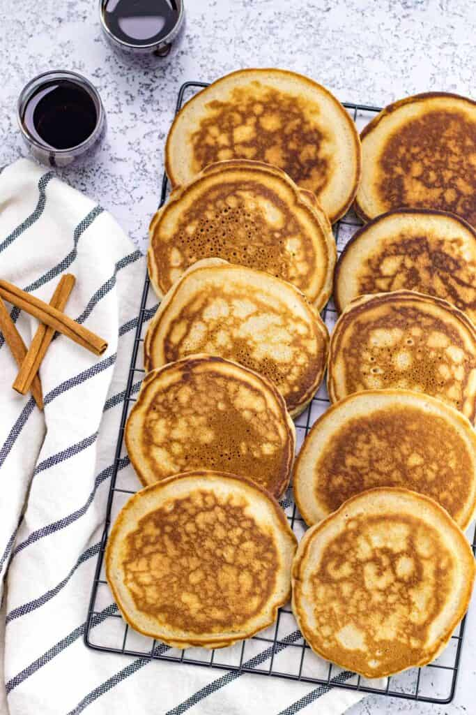 a platter full of easy, made from scratch pancakes