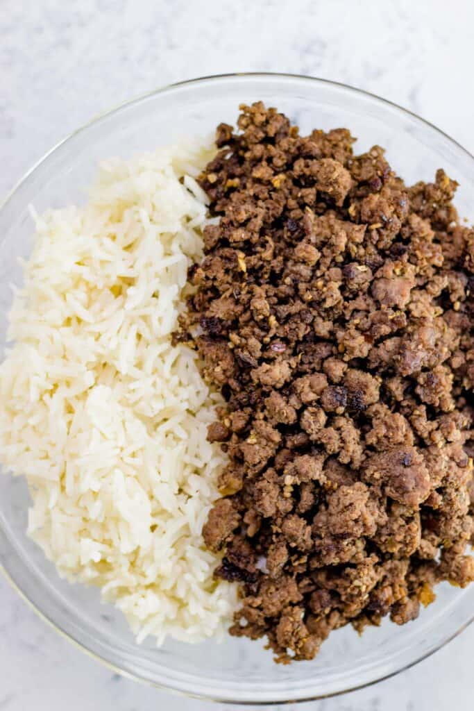 the prepared spicy beef and rice