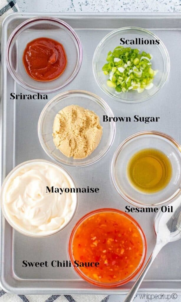 a labelled ingredient photo of all of the ingredients required to make the sauce