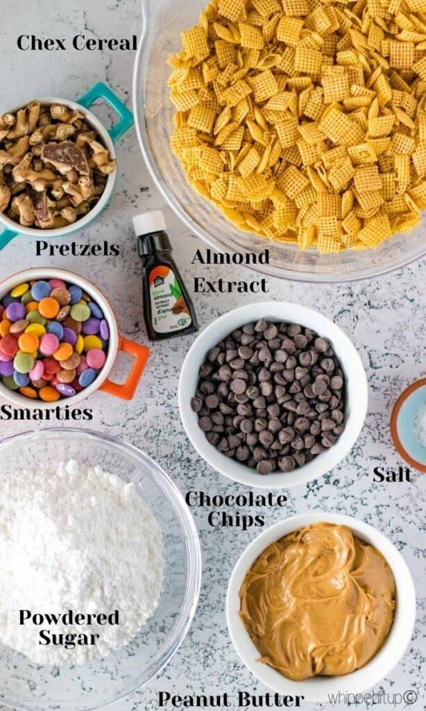 all of the ingredients to make muddy buddies